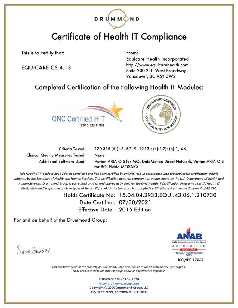 Drummond Certificate of Health IT Compliance